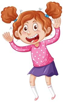 Chica con personaje de dibujos animados de tirantes de dientes sobre fondo blanco