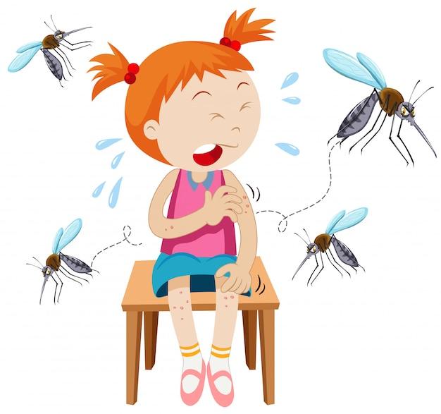 Chica picada por mosquitos