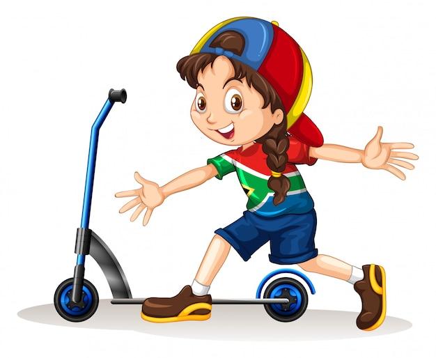 Chica de pie junto al scooter