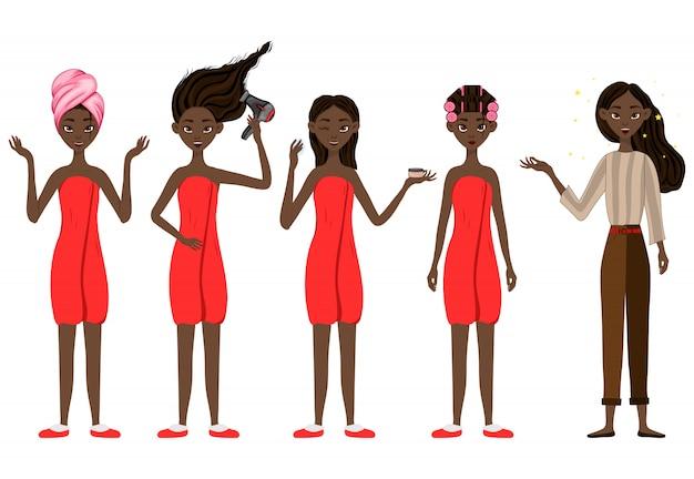 Chica de piel oscura antes y después de los tratamientos de belleza.