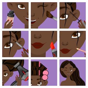 Chica de piel oscura con pasos de maquillaje