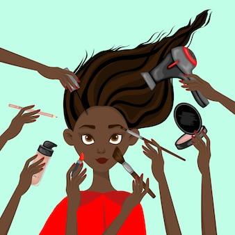 Chica de piel oscura rodeada de artículos de belleza. estilo de dibujos animados. ilustración vectorial.