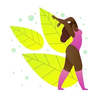 Chica de piel oscura en ropa deportiva