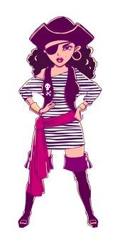Chica pirata con chaleco a rayas, botas y parche en el ojo