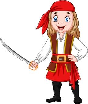 Chica pirata de dibujos animados sosteniendo una espada