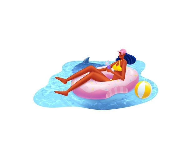 Chica en la piscina verano y vocación en el mar