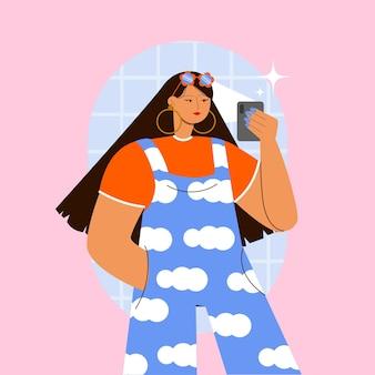 Chica plana tomando fotos con smartphone