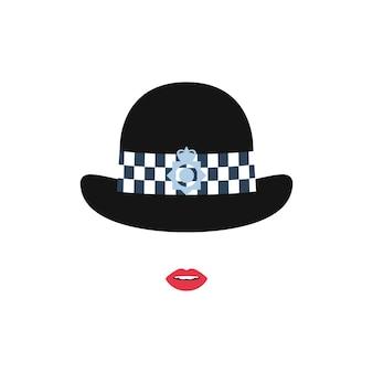 Chica de la policía británica con un sombrero