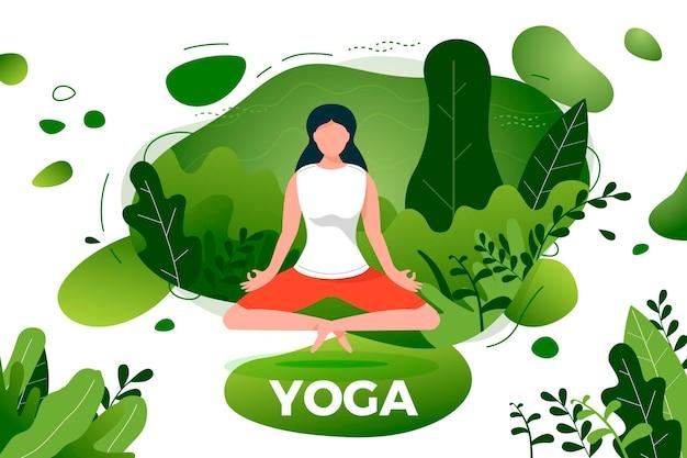 Chica en pose de loto de yoga. parque, bosque, arboles, fondo de colinas. banner, sitio, plantilla de cartel