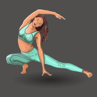 Chica en posición de yoga. vector el ejemplo de la mujer hermosa de la historieta en las diversas actitudes de la yoga.