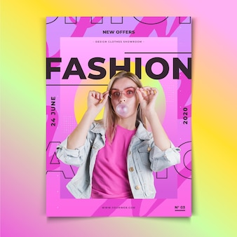 Chica con un póster de moda de globo de chicle
