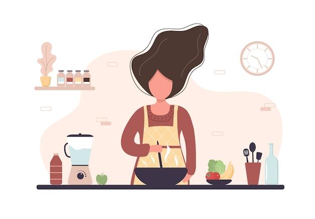 Chica preparando comidas caseras para el almuerzo o la cena