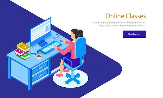 Chica preparando a través de clases en línea.