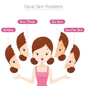 Chica con problemas de piel facial