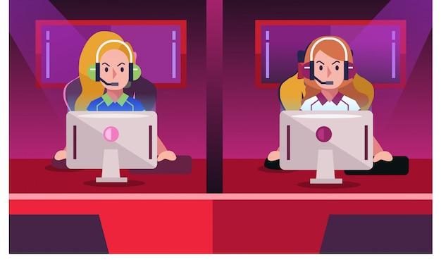Chica profesional gamer jugando en videojuego competitivo