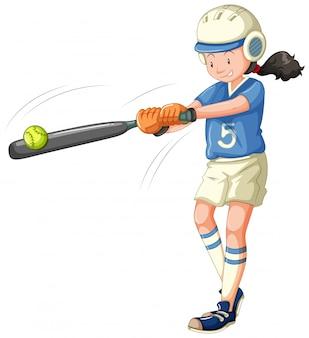 Chica a punto de golpear el béisbol aislado