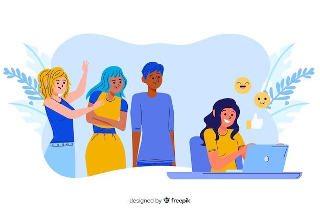 Chica que no presta atención a la ilustración del concepto de sus amigos