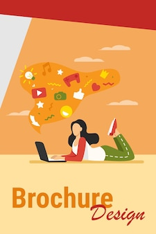 Chica que sufre de adicción a internet. mujer usando laptop, burbuja con signos de redes sociales ilustración vectorial plana desordenada. concepto de comunicación en línea para banner, diseño de sitios web o página web de destino