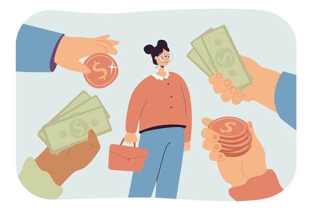 Chica recibiendo muchas ofertas económicas lucrativas
