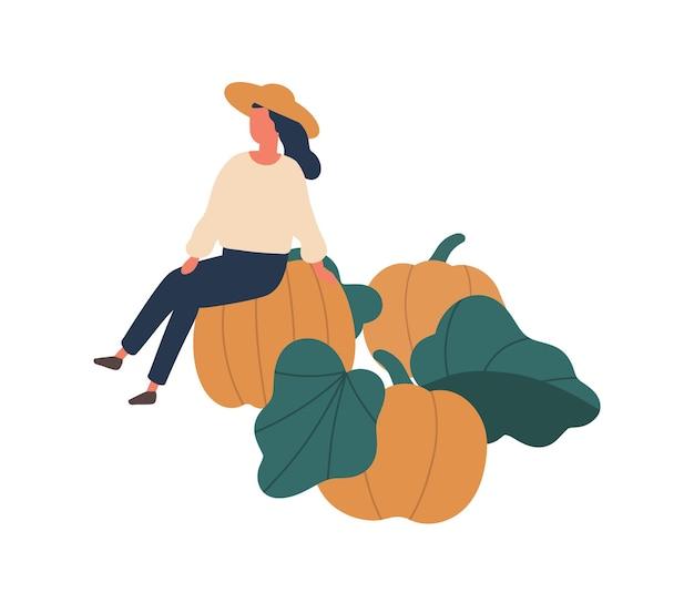 Chica recogiendo calabazas ilustración vectorial plana. mujer sentada en calabaza elemento de diseño aislado. personaje de dibujos animados de jardinero femenino. otoño de cultivos de hortalizas de temporada, productos agrícolas orgánicos.