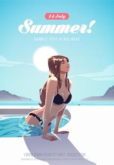 Chica relajándose en la piscina. cartel de vacaciones de verano
