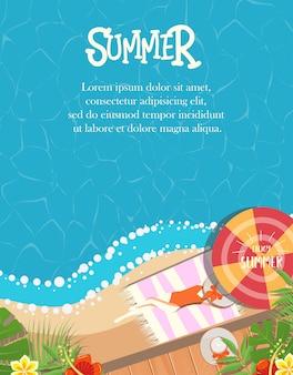 Chica relajarse en la playa de diseño de verano