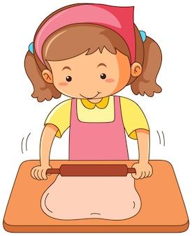 Chica rodando masa de harina en el tablero de madera