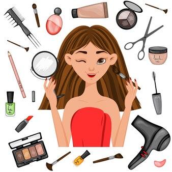 Chica rodeada de artículos de belleza. estilo de dibujos animados. ilustración vectorial.