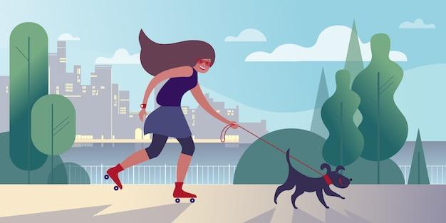 Chica en rodillos paseando a un perro en el terraplén de la ciudad