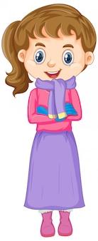 Chica en ropa de invierno en blanco