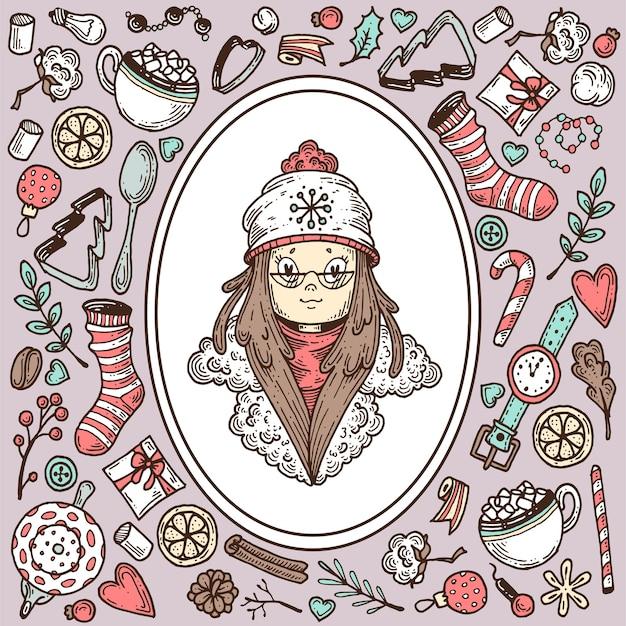 Chica en ropa de invierno y un conjunto de elementos sobre el tema del invierno.
