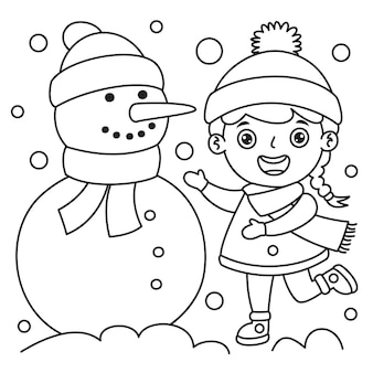 Chica en ropa de invierno haciendo un muñeco de nieve, dibujo de arte lineal para niños, página para colorear