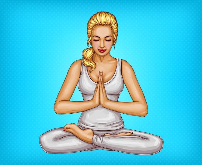 Chica rubia sentada con los ojos cerrados en posición de loto o padmasana