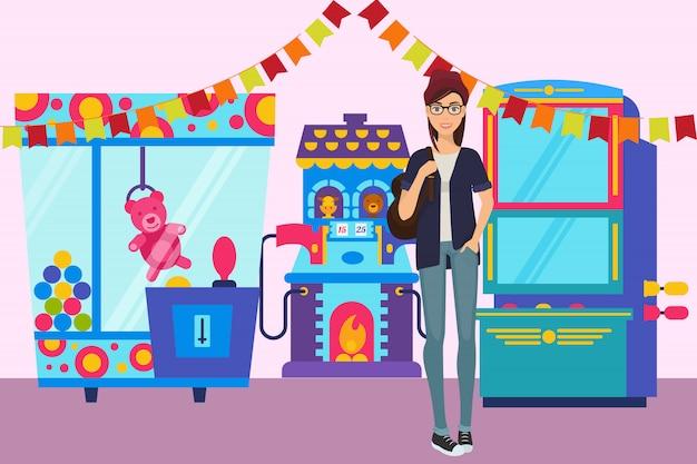 Chica en la sala de juego banner ilustración. máquina de juego con juguetes para niños en el parque de atracciones.