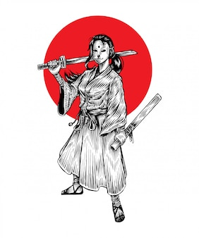 Chica samurai enmascarada badas de pie sosteniendo su katana