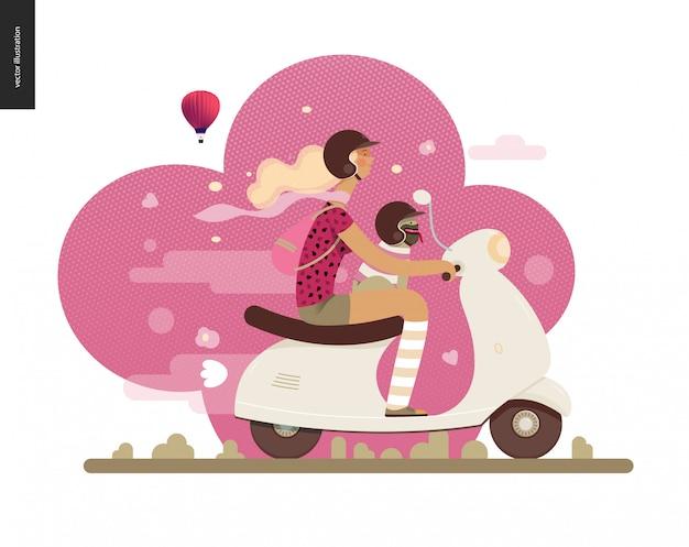 Chica en un scooter