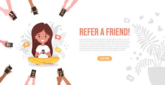 Chica sentada en loto y se refiere amigos, las manos sosteniendo el teléfono inteligente. estrategia de marketing de referidos