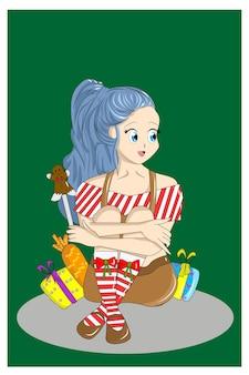 Chica sentada en medio del regalo de navidad