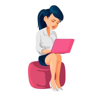Chica sentada en una otomana y trabajando en una computadora portátil. ilustración de vector de personaje de dibujos animados, aislado sobre fondo blanco.