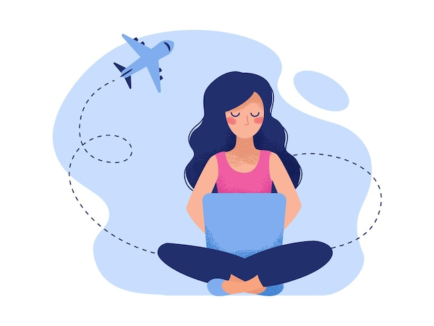 Chica sentada con un portátil y buscando un billete de avión