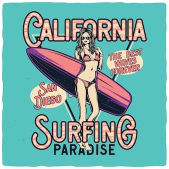 Chica sexy en bikini con tabla de surf