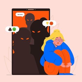 Chica siendo intimidada en línea ilustrada