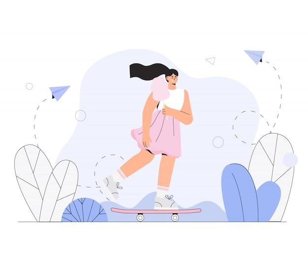 Chica skater en un vestido y con algodón de azúcar monta una patineta en el parque de la ciudad.