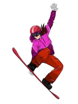 Chica de snowboard