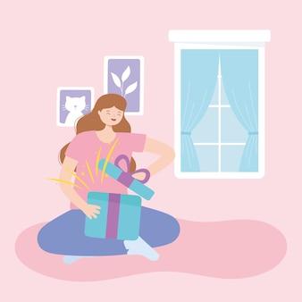 Chica sola abriendo caja de regalo en la ilustración de vector de dibujos animados de habitación