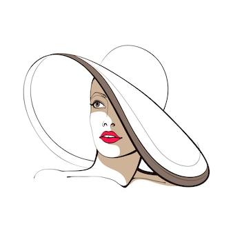Chica con un sombrero de ala ancha. cara abstracta. ilustración de moda ilustración