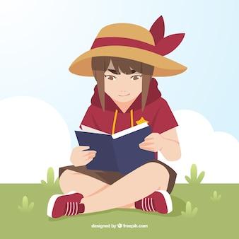 Chica con sombrero leyendo un libro en el parque