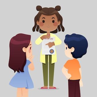 Chica sosteniendo dibujos animados de ley de patentes