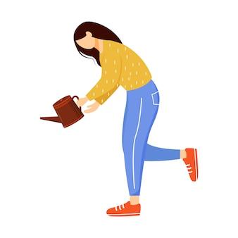 Chica sosteniendo la ilustración de vector plano de regadera.