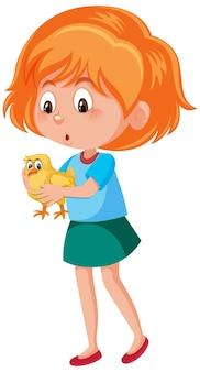 Chica sosteniendo lindo personaje de dibujos animados de animales aislado en blanco